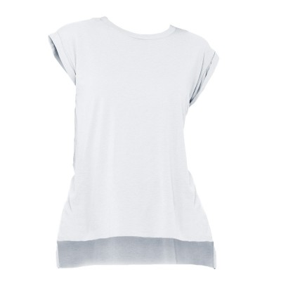 T-Shirt Women's Flowy Muscle Tee with Rolled Cuff colore White taglia S