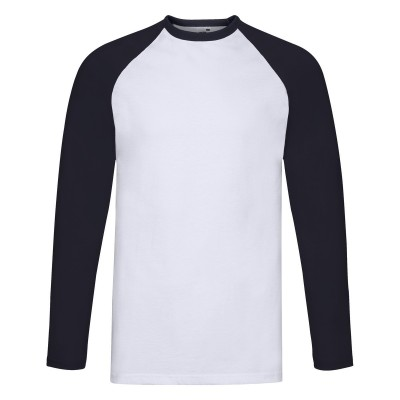 T-Shirt Valueweight Long Sleeve Baseball T colore white-deep navy taglia S