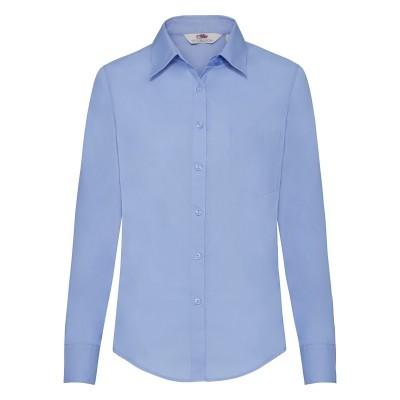 Camicie Ladies Poplin Shirt Long Sleeve colore mid blue taglia XS