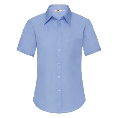 Camicie Ladies Poplin Shirt Short Sleeve colore mid blue taglia XS