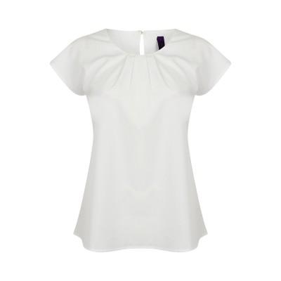 T-Shirt Ladies' Pleat Front S/S Blouse colore white taglia XS