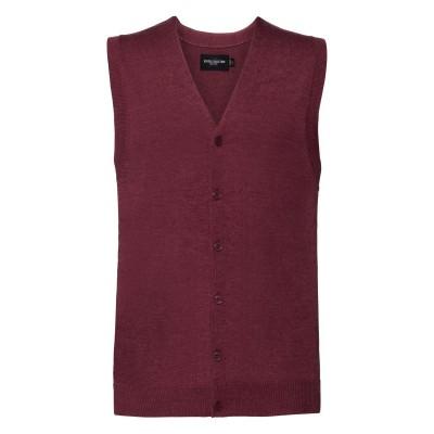 Maglieria Men's V-Neck Sleeveless Knitted Cardigan colore Cranberry Marl taglia XXS