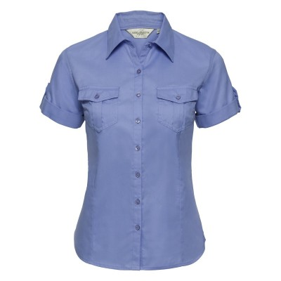Camicie Ladies' Roll Short Sleeve Shirt colore blue taglia XS