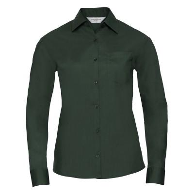 Camicie Ladies' Long Sleeve PolyCotton Poplin Shirt colore bottle green taglia XS