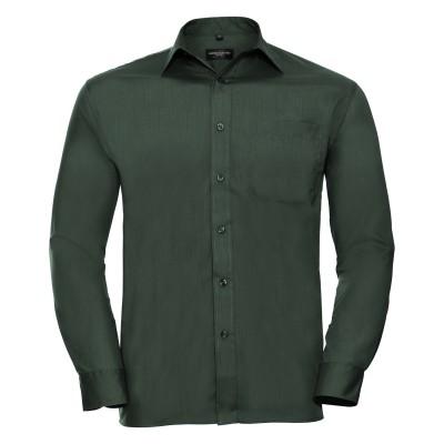 Camicie Men's Long Sleeve PolyCotton Poplin Shirt colore bottle green taglia S