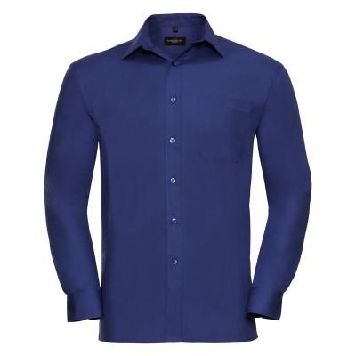 Camicie Men's Long Sleeve Pure Cotton Poplin Shirt colore aztec blue taglia S