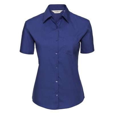 Camicie Ladies' Short Sleeve Pure Cotton Poplin Shirt colore aztec blue taglia XS