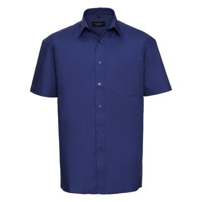 Camicie Men's Short Sleeve Pure Cotton Poplin Shirt colore aztec blue taglia S