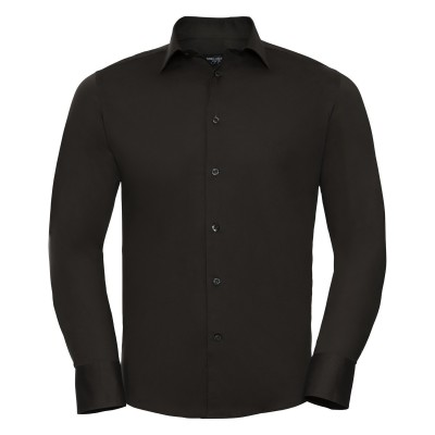 Camicie Men's Long Sleeve Easy Care Fitted Shirt colore chocolate taglia S