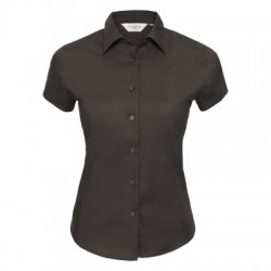 Camicie Ladies' Short Sleeve Easy Care Fitted Shirt colore chocolate taglia XS