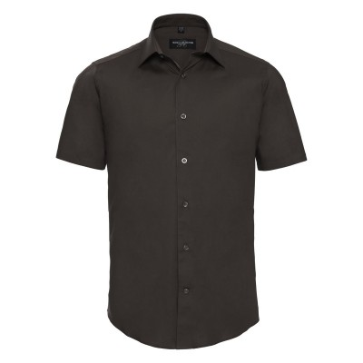 Camicie Men's Short Sleeve Easy Care Fitted Shirt colore chocolate taglia S