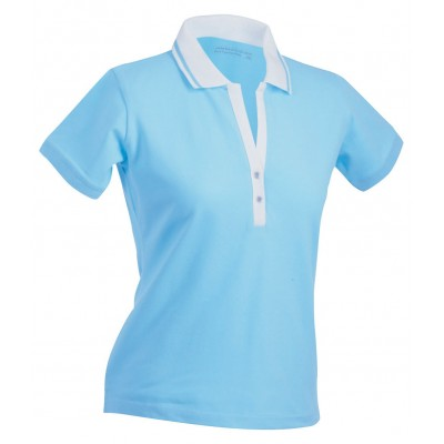 Polo Ladies' Elastic Polo Short-Sleeved colore lagoon/white taglia S