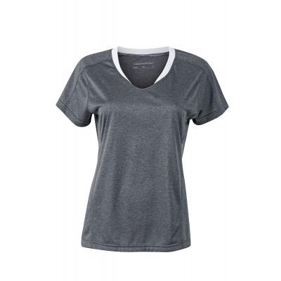 T-Shirt Ladies' Running T-Shirt colore black-melange/white taglia XS