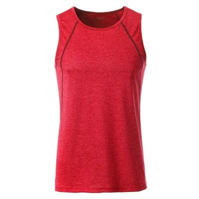 T-Shirt Men´s Sports Tanktop colore red-melange taglia S