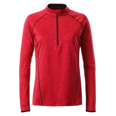 T-Shirt Ladies' Sportsshirt Longsleeve colore red-melange taglia XS