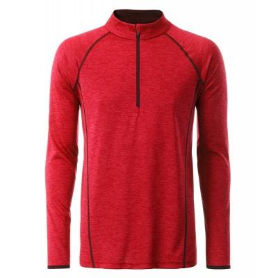 T-Shirt Men's Sportsshirt Longsleeve colore red-melange taglia S
