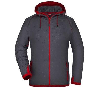 Pile Ladies' Hooded Fleece colore carbon/red taglia S