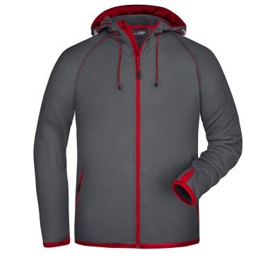 Pile Men's Hooded Fleece colore carbon/red taglia S