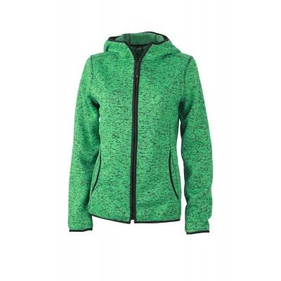 Pile Ladies' Knitted Fleece Hoody colore green-melange/black taglia S