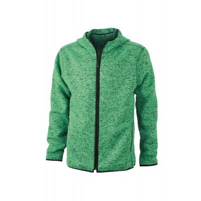 Pile Men's Knitted Fleece Hoody colore green-melange/black taglia S