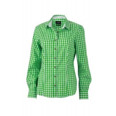 Camicie Ladies' Traditional Shirt colore green/white taglia XS