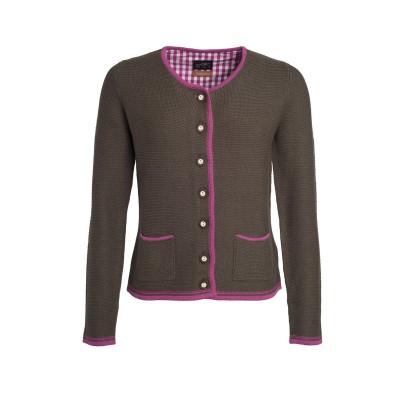Maglieria Ladies' Traditional Knitted Jacket colore brown-melange/purple/purple taglia XS