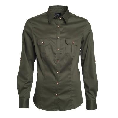 Camicie Ladies' Traditional Shirt Plain colore olive taglia XS