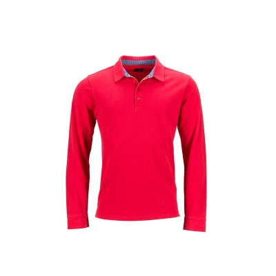 Polo Men's Polo Longs-Sleeved colore red/blue-white taglia S