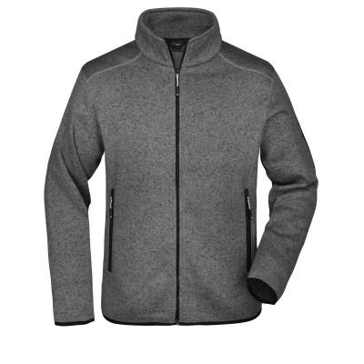 Pile Men's Knitted Fleece Jacket colore dark-grey-melange/silver taglia S