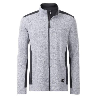 Pile Men's Knitted Workwear Fleece Jacket colore white-melange-carbon taglia XS