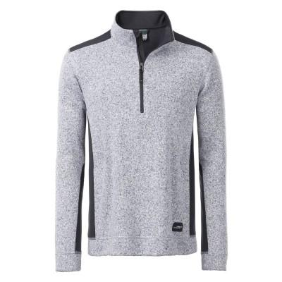 Pile Men's Knitted Workwear Fleece Half-Zip colore white-melange-carbon taglia XS
