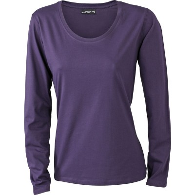 T-Shirt Ladies' Shirt Long-Sleeved Medium colore aubergine taglia S