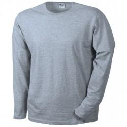 T-Shirt Men's Long-Sleeved Medium colore grey-heather taglia L