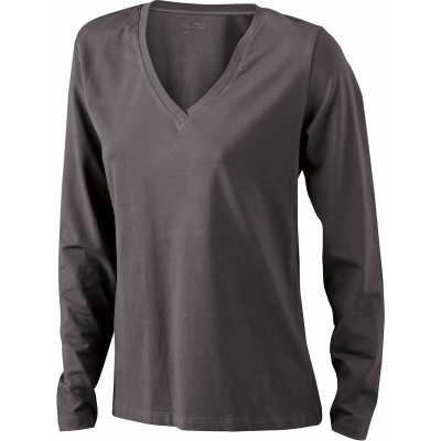 T-Shirt Ladies' Stretch V-Shirt Long-Sleeved colore charcoal taglia S