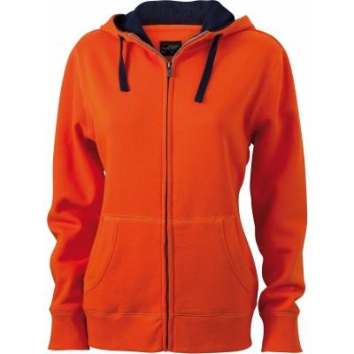 Felpe Ladies' Lifestyle Zip-Hoody colore dark-orange/navy taglia S