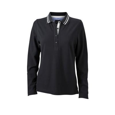 Polo Ladies' Polo Long-Sleeved colore black/off-white taglia S
