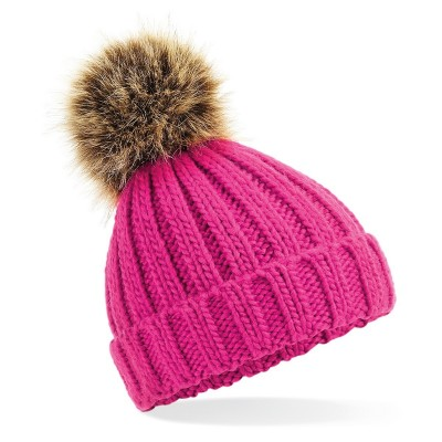 Cappelli Infant Fur Pom Pom Chunky Beanie colore fuchsia taglia UNICA