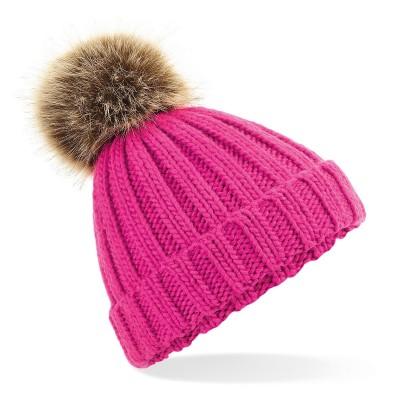 Cappelli Junior Fur Pom Pom Chunky Beanie colore fuchsia taglia UNICA