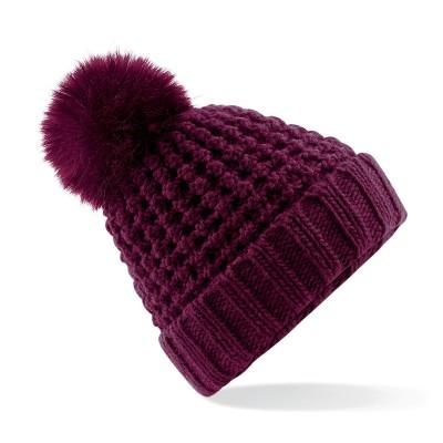 Cappelli Popcorn Fur Pom Pom Beanie colore burgundy taglia UNICA