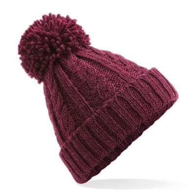 Cappelli Cable Knit Melange Beanie colore burgundy taglia UNICA