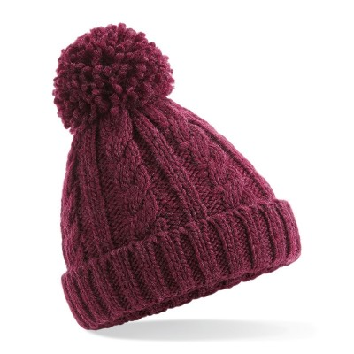 Cappelli Junior Cable Knit Melange Beanie colore burgundy taglia UNICA